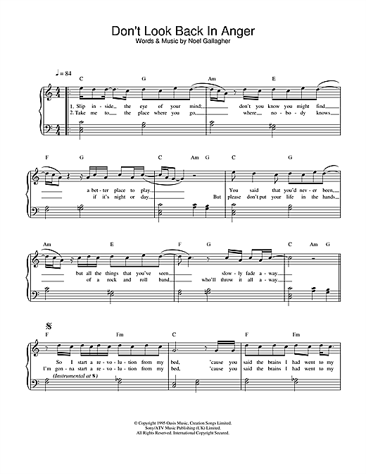 Oasis Don't Look Back In Anger sheet music notes and chords. Download Printable PDF.