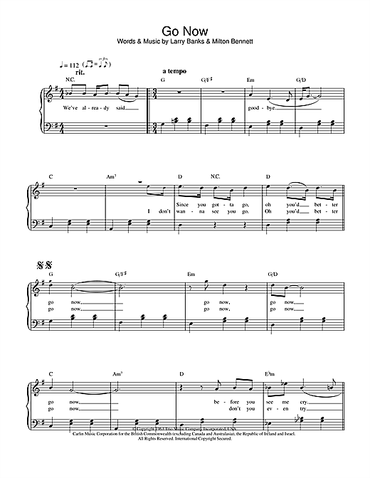 The Moody Blues Go Now sheet music notes and chords. Download Printable PDF.