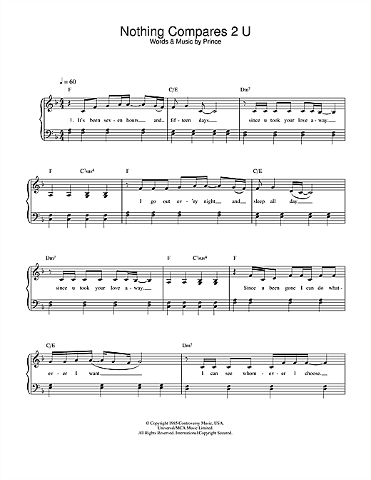 Sinead O'Connor Nothing Compares 2 U sheet music notes and chords. Download Printable PDF.