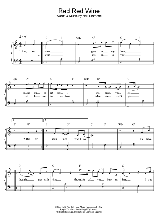 UB40 Red, Red Wine sheet music notes and chords. Download Printable PDF.
