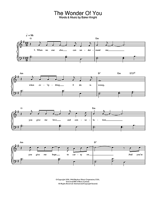 Elvis Presley The Wonder Of You sheet music notes and chords. Download Printable PDF.