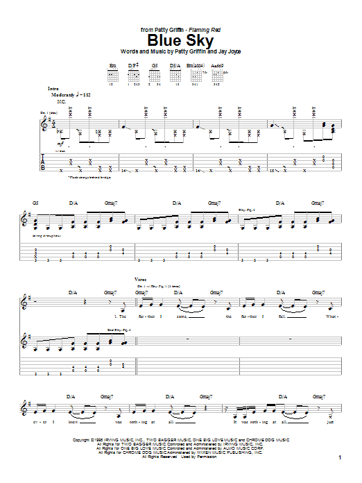 Patty Griffin Blue Sky sheet music notes and chords. Download Printable PDF.