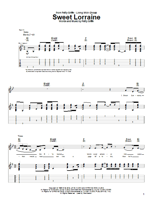 Patty Griffin Sweet Lorraine sheet music notes and chords. Download Printable PDF.