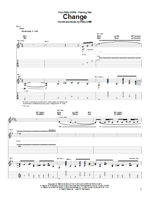 Patty Griffin Change sheet music notes and chords. Download Printable PDF.