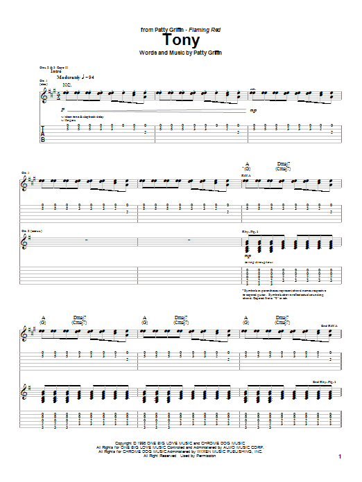 Patty Griffin Tony sheet music notes and chords. Download Printable PDF.