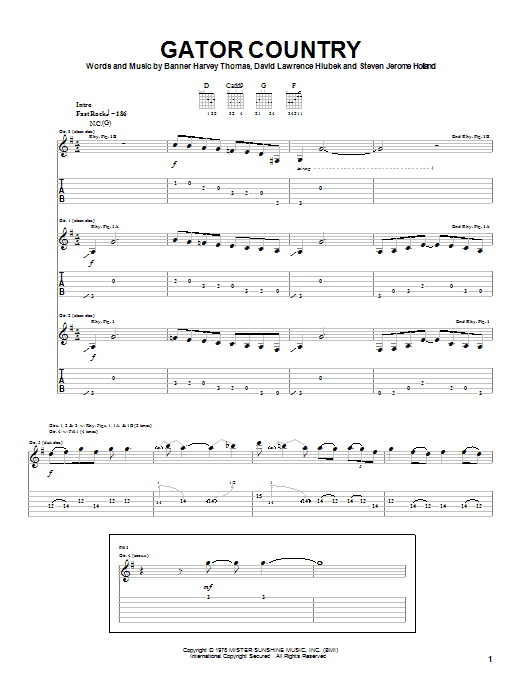Molly Hatchet Gator Country sheet music notes and chords. Download Printable PDF.