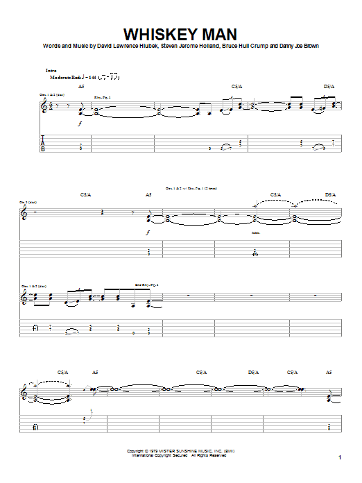 Molly Hatchet Whiskey Man sheet music notes and chords. Download Printable PDF.