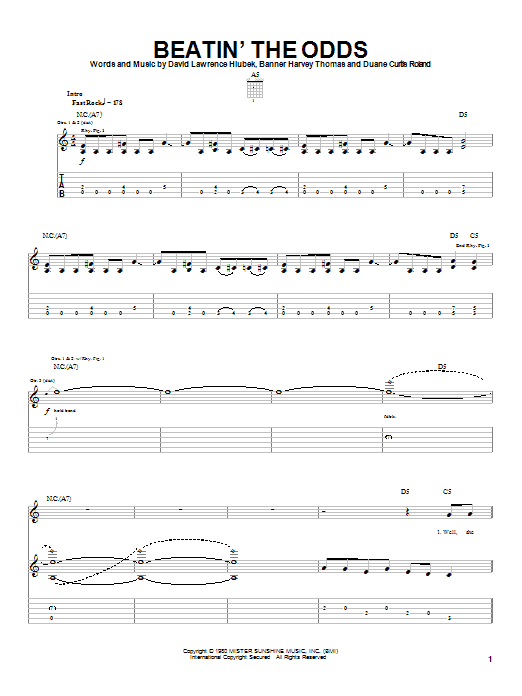 Molly Hatchet Beatin' The Odds sheet music notes and chords. Download Printable PDF.