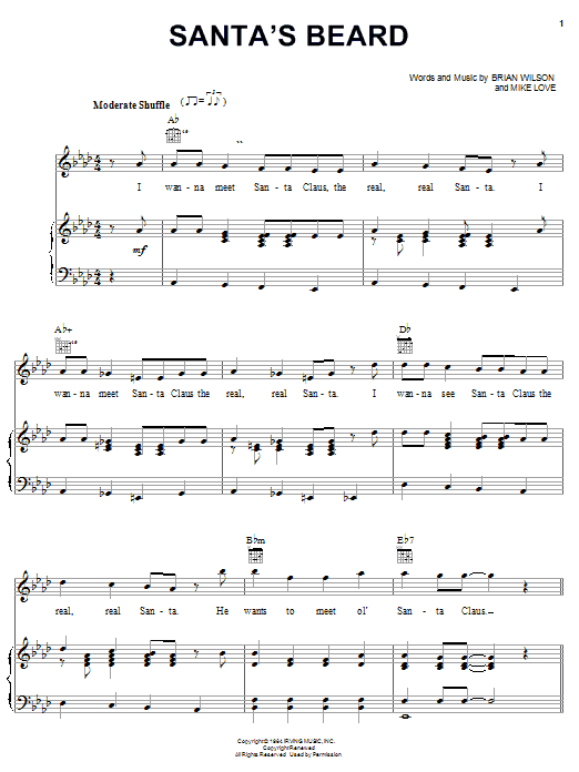 The Beach Boys Santa's Beard sheet music notes and chords. Download Printable PDF.
