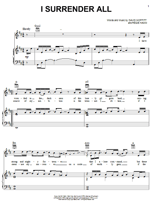 Clay Crosse I Surrender All sheet music notes and chords. Download Printable PDF.