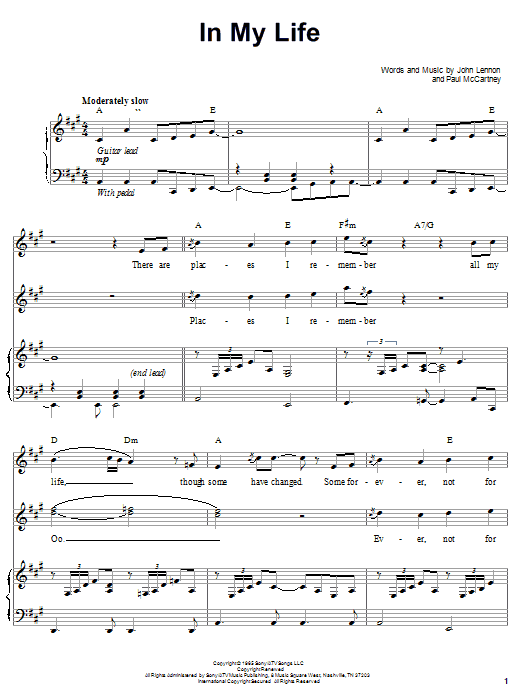 The Beatles In My Life sheet music notes and chords. Download Printable PDF.