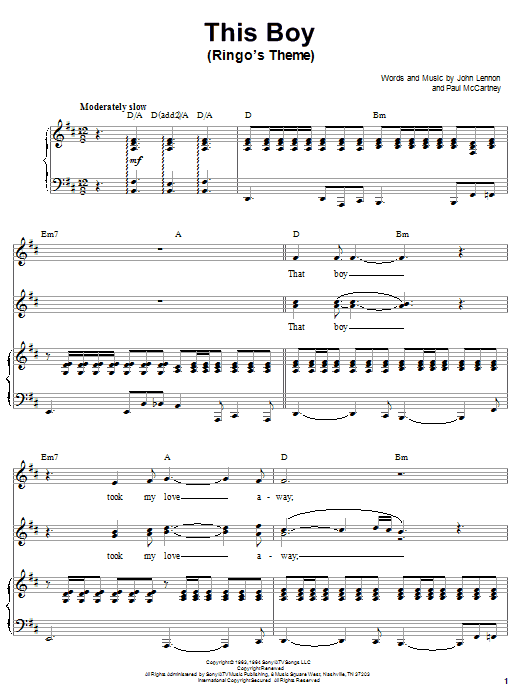 The Beatles This Boy (Ringo's Theme) sheet music notes and chords. Download Printable PDF.