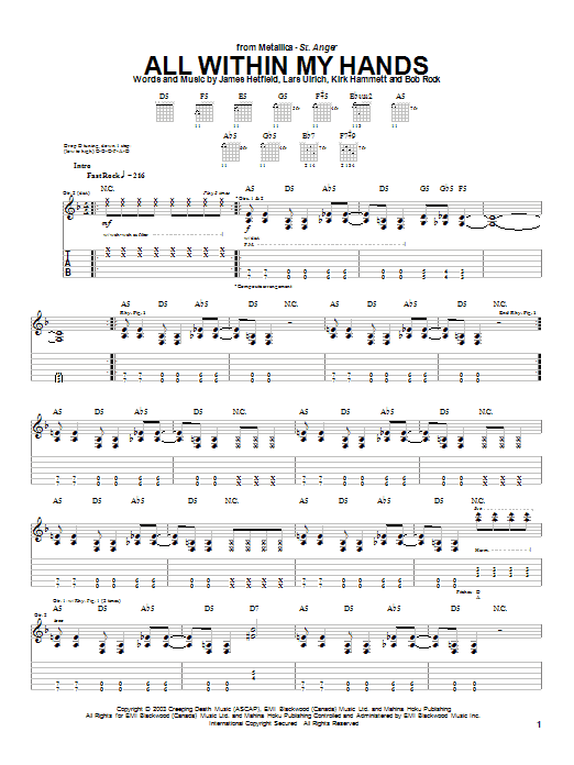 Metallica All Within My Hands sheet music notes and chords. Download Printable PDF.