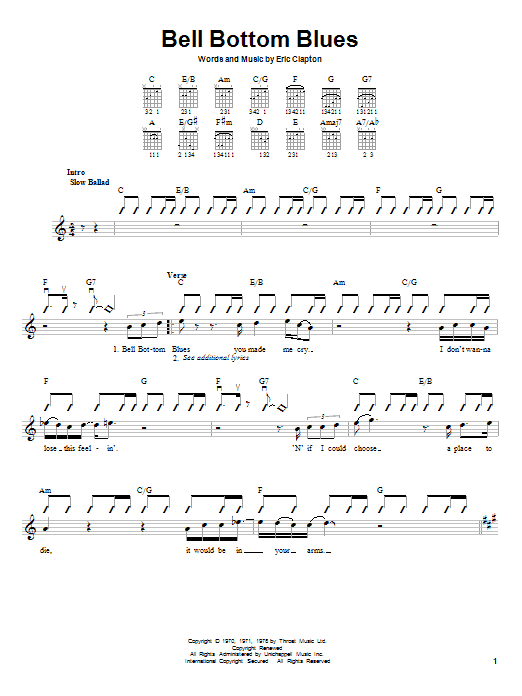 Derek And The Dominos Bell Bottom Blues sheet music notes and chords. Download Printable PDF.
