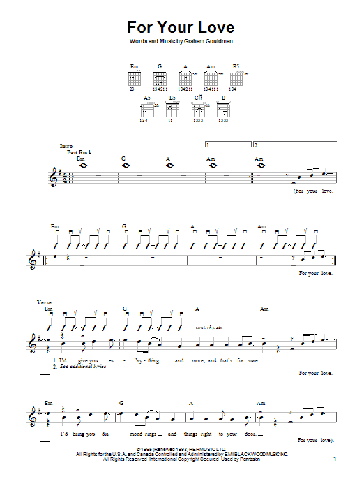 The Yardbirds For Your Love sheet music notes and chords. Download Printable PDF.