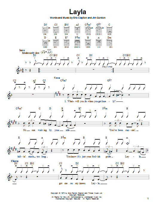 Eric Clapton Layla sheet music notes and chords. Download Printable PDF.