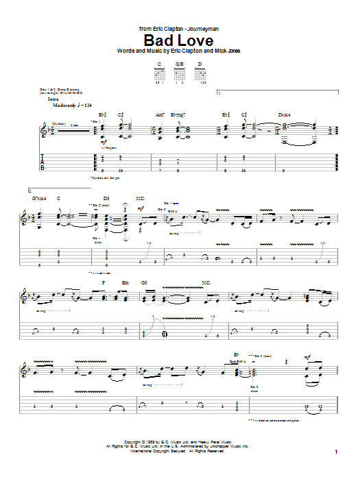 Eric Clapton Bad Love sheet music notes and chords. Download Printable PDF.