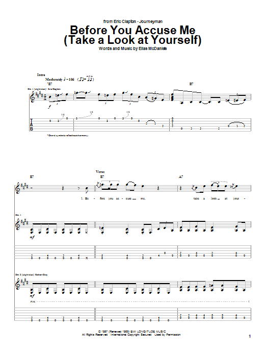 Eric Clapton Before You Accuse Me (Take A Look At Yourself) sheet music notes and chords. Download Printable PDF.
