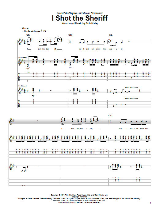 Eric Clapton I Shot The Sheriff sheet music notes and chords. Download Printable PDF.