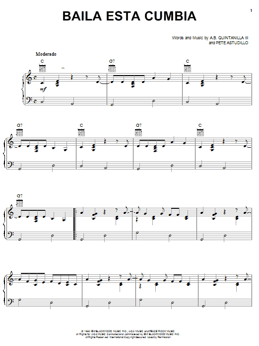 A.B. Quintanilla III Baila Esta Cumbia sheet music notes and chords. Download Printable PDF.