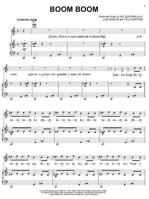 A.B. Quintanilla III Boom Boom sheet music notes and chords. Download Printable PDF.