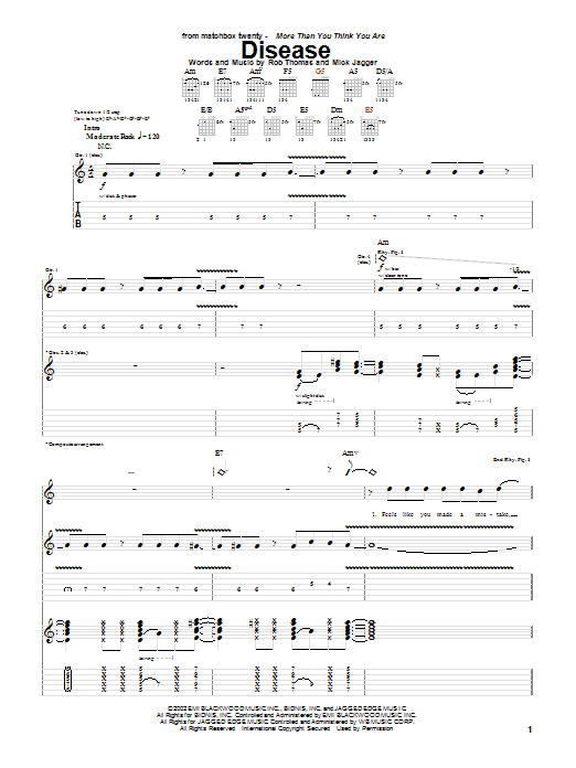 Matchbox Twenty Disease sheet music notes and chords. Download Printable PDF.