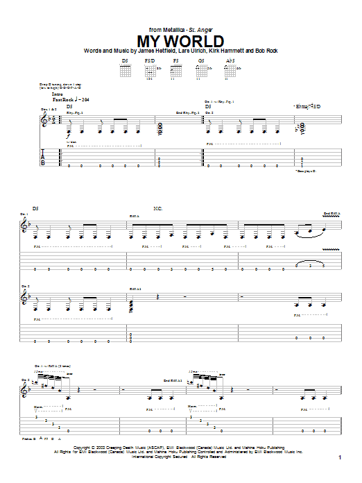 Metallica My World sheet music notes and chords. Download Printable PDF.