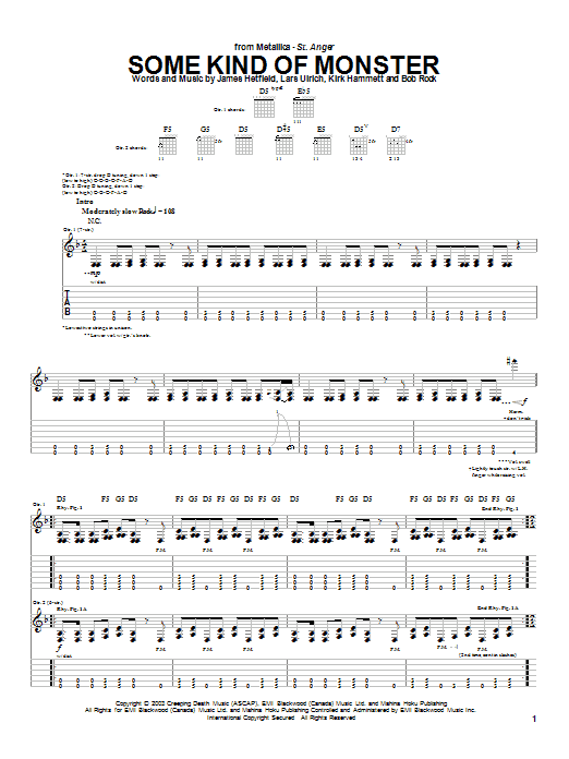 Metallica Some Kind Of Monster sheet music notes and chords. Download Printable PDF.
