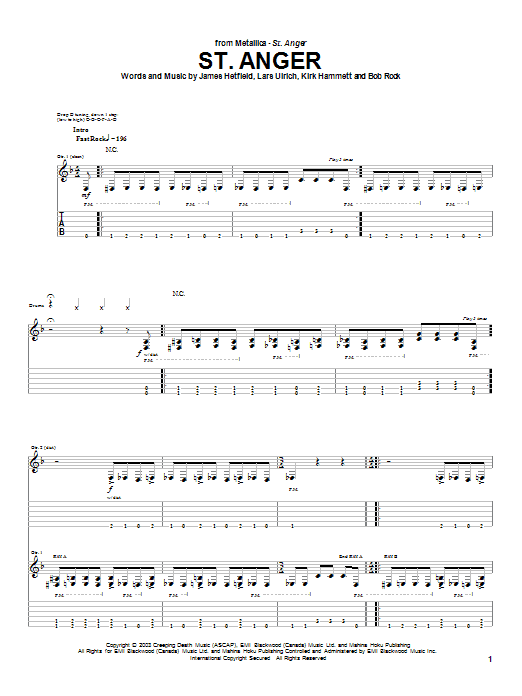 Metallica St. Anger sheet music notes and chords. Download Printable PDF.