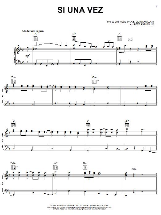 A.B. Quintanilla III Si Una Vez sheet music notes and chords. Download Printable PDF.