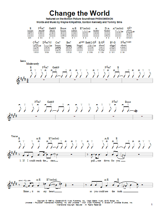 Eric Clapton Change The World sheet music notes and chords. Download Printable PDF.