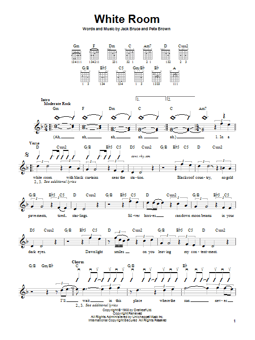 Cream White Room sheet music notes and chords. Download Printable PDF.
