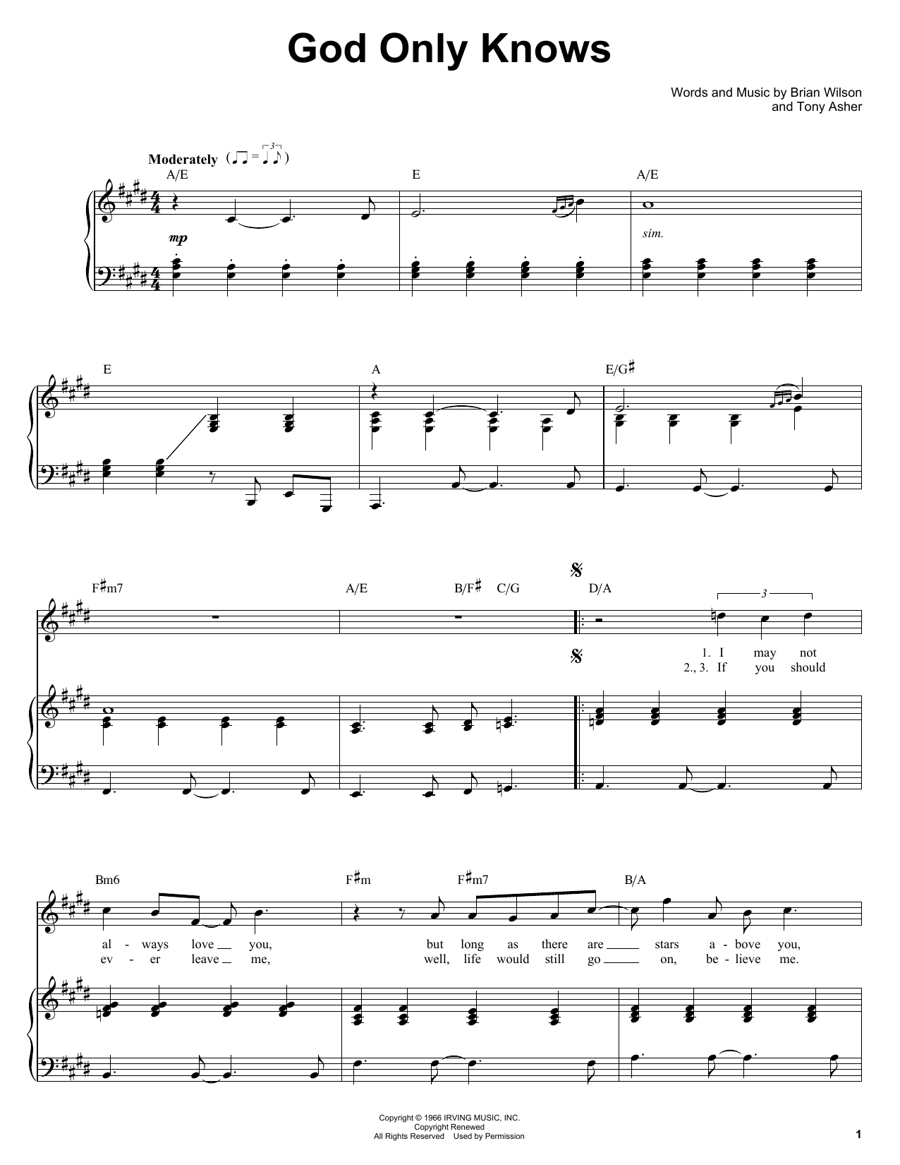 The Beach Boys God Only Knows sheet music notes and chords. Download Printable PDF.