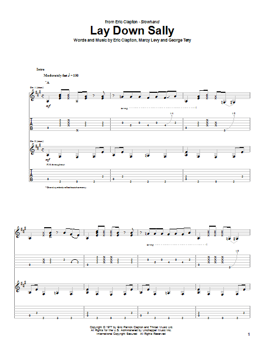 Eric Clapton Lay Down Sally sheet music notes and chords. Download Printable PDF.