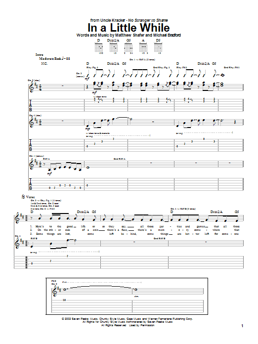 Uncle Kracker In A Little While sheet music notes and chords. Download Printable PDF.