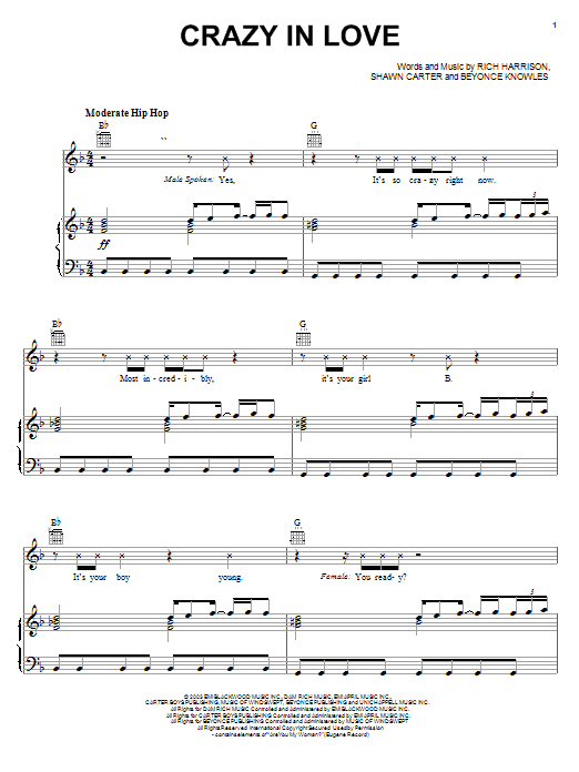 Beyoncé Crazy In Love sheet music notes and chords. Download Printable PDF.