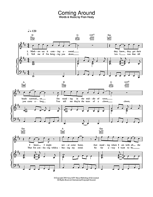 Travis Coming Around sheet music notes and chords. Download Printable PDF.