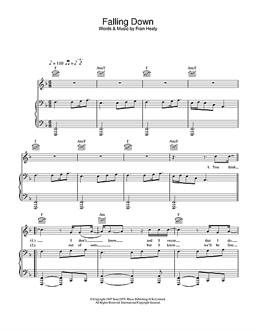 Travis Falling Down sheet music notes and chords. Download Printable PDF.