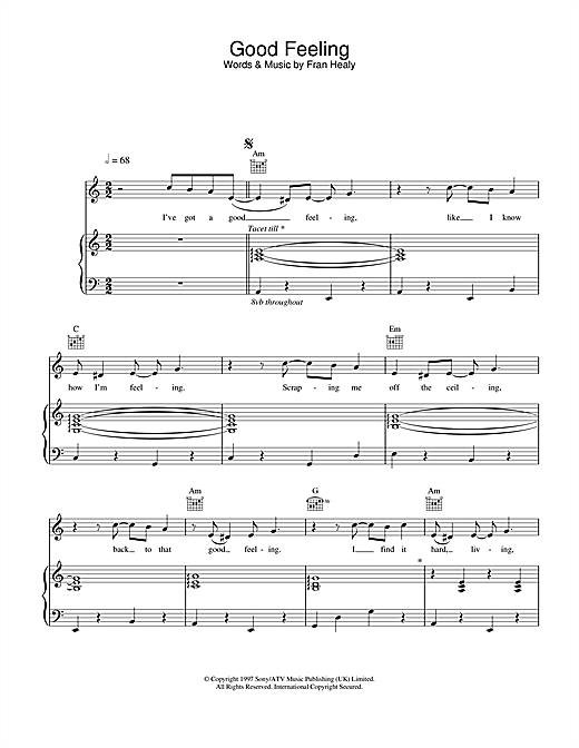 Travis Good Feeling sheet music notes and chords. Download Printable PDF.