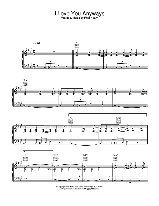 Travis I Love You Anyways sheet music notes and chords. Download Printable PDF.