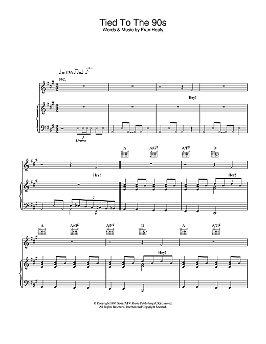Travis Tied To The 90s sheet music notes and chords. Download Printable PDF.