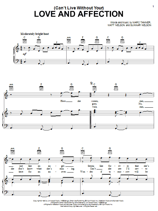 Nelson (Can't Live Without Your) Love And Affection sheet music notes and chords. Download Printable PDF.