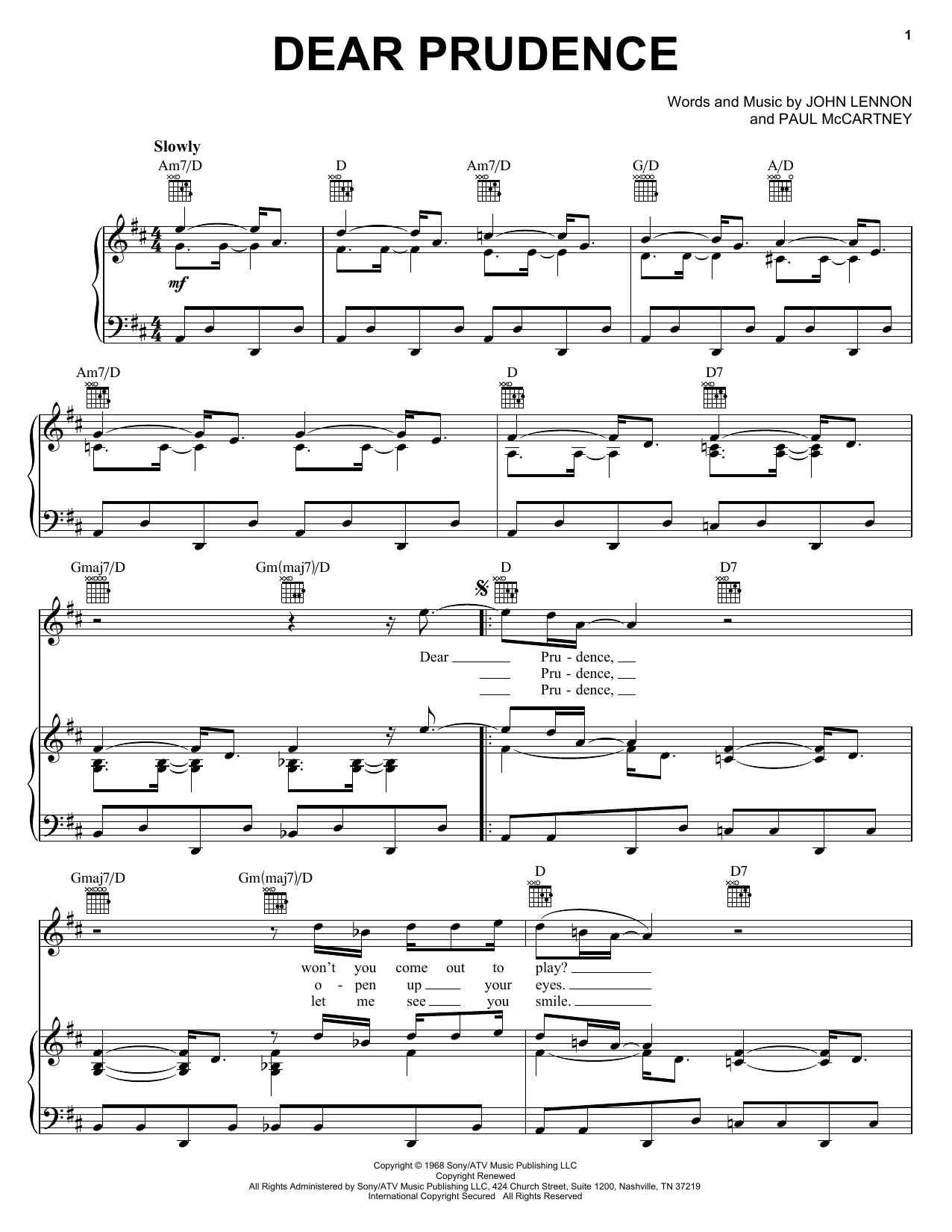 The Beatles Dear Prudence sheet music notes and chords. Download Printable PDF.