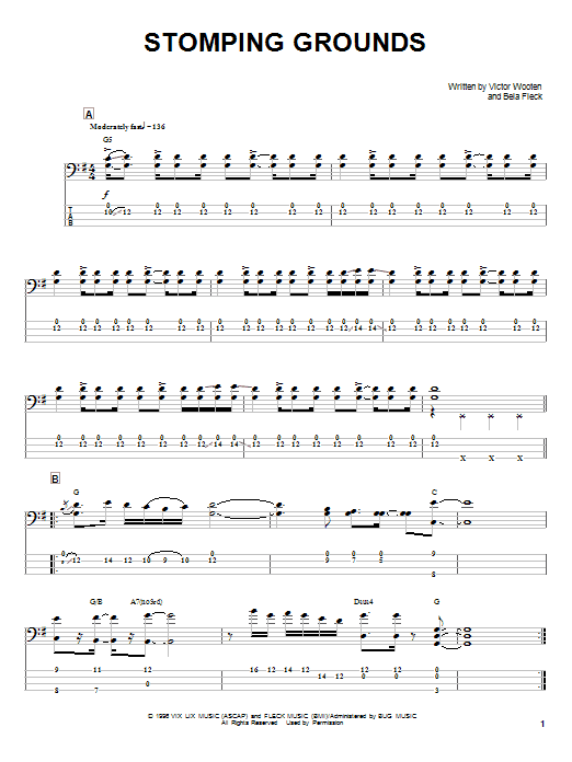 Victor Wooten Stomping Grounds sheet music notes and chords. Download Printable PDF.