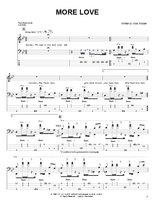 Victor Wooten More Love sheet music notes and chords. Download Printable PDF.