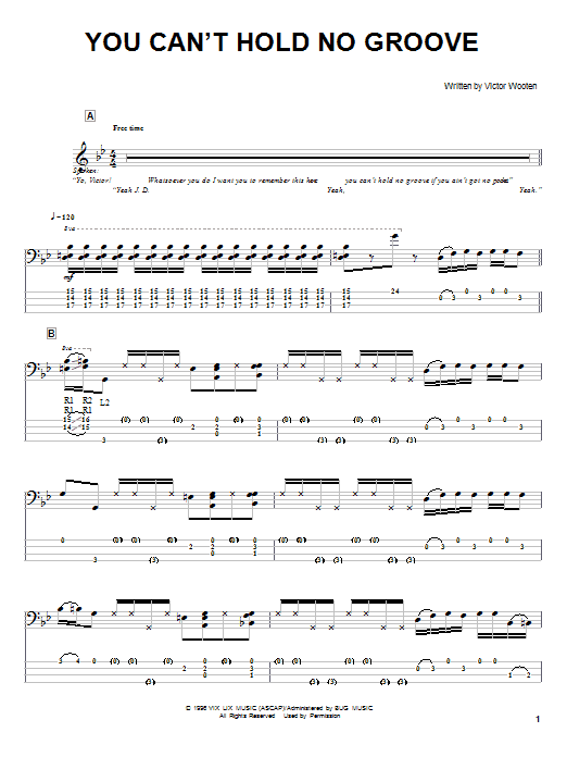 Victor Wooten You Can't Hold No Groove sheet music notes and chords. Download Printable PDF.