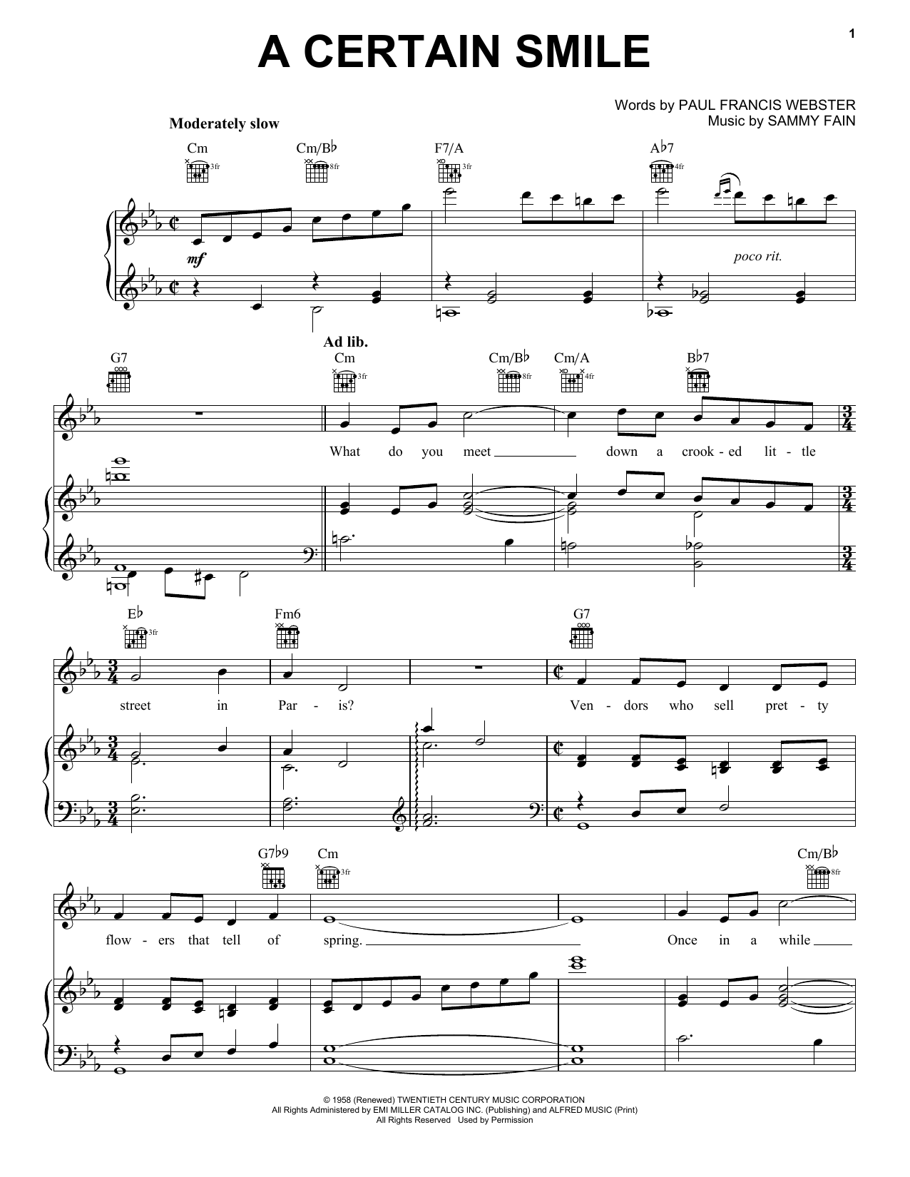 Johnny Mathis A Certain Smile sheet music notes and chords. Download Printable PDF.