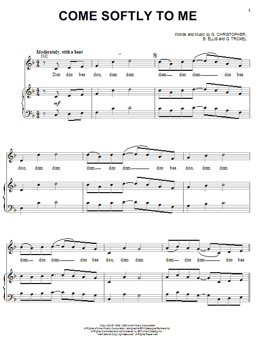 The Fleetwoods Come Softly To Me sheet music notes and chords. Download Printable PDF.