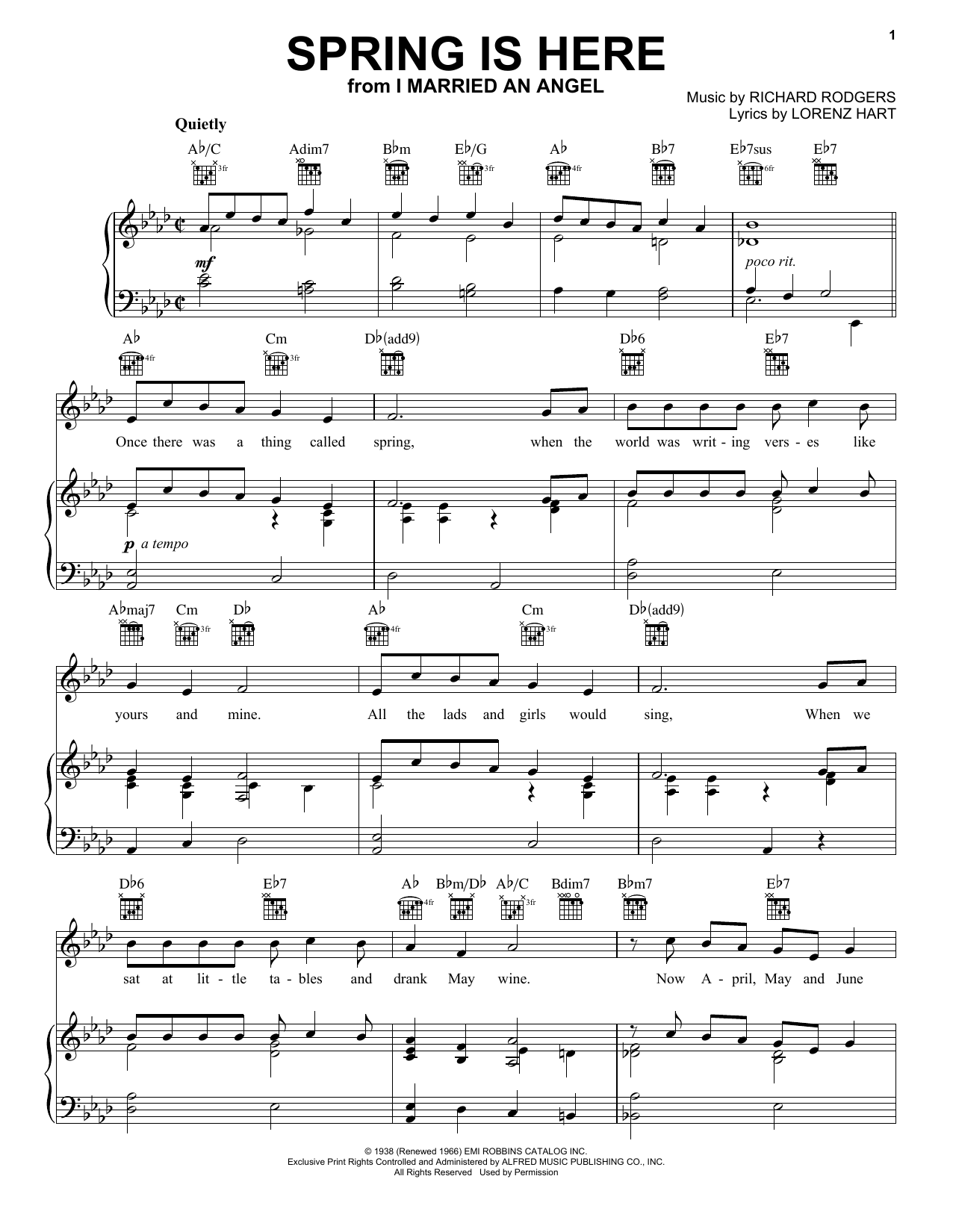Rodgers & Hart Spring Is Here sheet music notes and chords. Download Printable PDF.