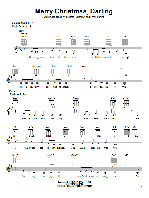 Carpenters Merry Christmas, Darling sheet music notes and chords. Download Printable PDF.